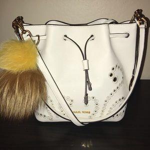 Michael Kors Optic White Trista Bucket Bag